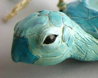 Island Bearer - Handmade OOAK Sea Turtle Polymer Clay Sculpture