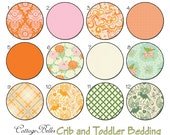 Crib Sheet or Toddler Bed Sheet  [ Up Parasol Persimmon ] Mint Orange Pink Ivory Olive Turquoise by Cottage Belles