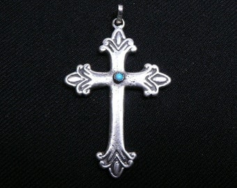 Sterling Silver Sand Cast and Turquoise Old Style CROSS Pendent