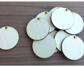 50 Pieces- Unfinished Wood Laser Cut Round Circle Pendant Blanks Disks 1.25 inch