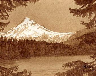 coffee art, Mt. Hood, Oregon, painted using only coffee, mountain, landscape, espresso, snow, lake, wilderness