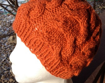 Cable Knit Beanie Womens Hat Hand Knitted Knit 'Horseshoe Cable' - 'Double Cable' - Ready To Ship
