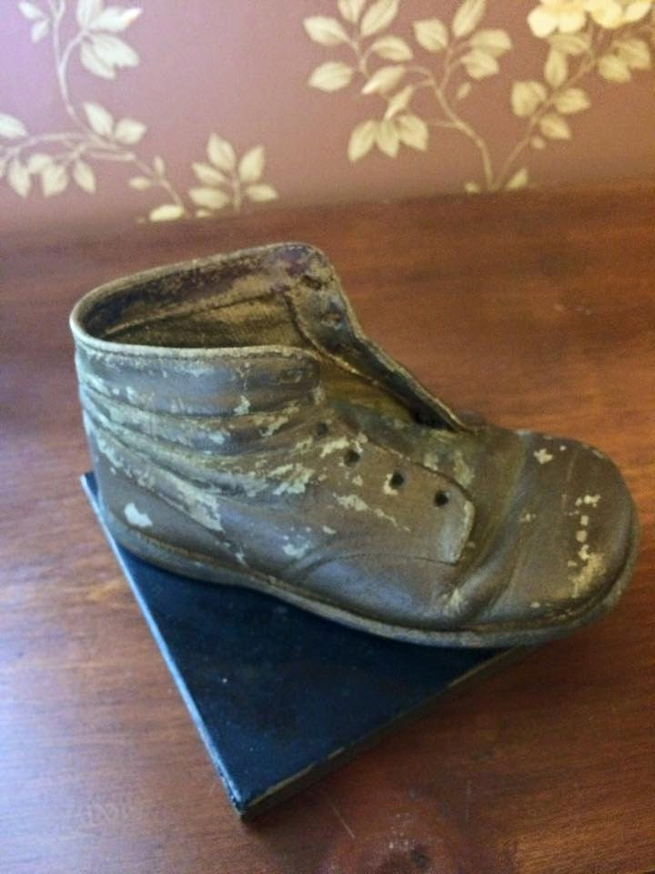 vintage plaster mold leather shoe shabby chic decor nursery