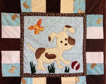 Baby Quilt, Boy Quilt, Dog Applique Quilt, Fleece and Flannel Baby Quilt, Baby Binky Blanket, Baby Boy Gift