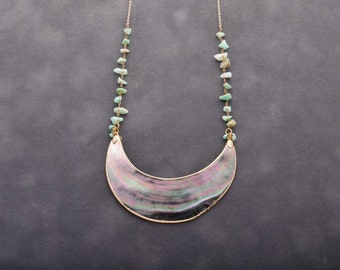 Abalone & chrysoprase necklace