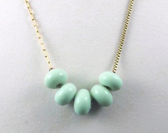 Mint Green Beaded Necklace, Glass vintage beads on super long chain