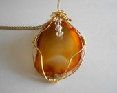 Gold Agate Pendant Gold Agate Necklace Wire Wrapped Pendant Gold Agate Slice Gold Agate Natural Agate Gold Gemstone