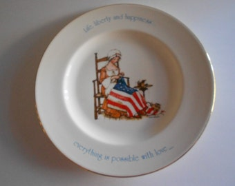 Holly Hobbie Plate Vintage 1974 Freedom Series 1776-1976 Woman Sewing American Flag Americana Plate Porcelain Plate Life Liberty