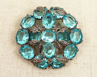 "Antique ""In the Thicket"" Baby Blue Glass Chunky Botanical Brooch"