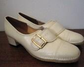 Vintage Cream White Monk Strap Buckle Mod Shoes Size 8.5