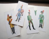 Large Vintage 1970's  Prints * Military Officers * 1800's rep. War Reenactment * Country Specific