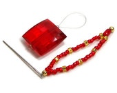 Red Gold Beaded Stitch Picker Needle Threader Set Thread Picker Cross Stitch Tool Needlepoint Hardanger Embroidery Frogging Tool