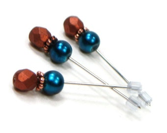 Counting Pins Marking Pins Cross Stitch Needlepoint Teal Blue Copper Brown DIY Crafts TJBdesigns