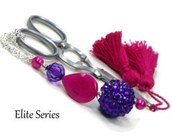 Scissor Fob Beaded Scissor Keeper Scissor Minder Elite Series Hot Pink Purple Needlepoint Quilting Sewing Cross Stitch