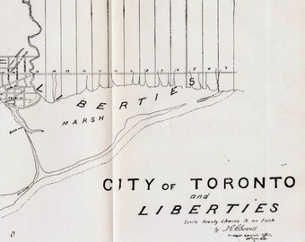 1908 Rare Plan of the City of Toronto and Liberties in 1834