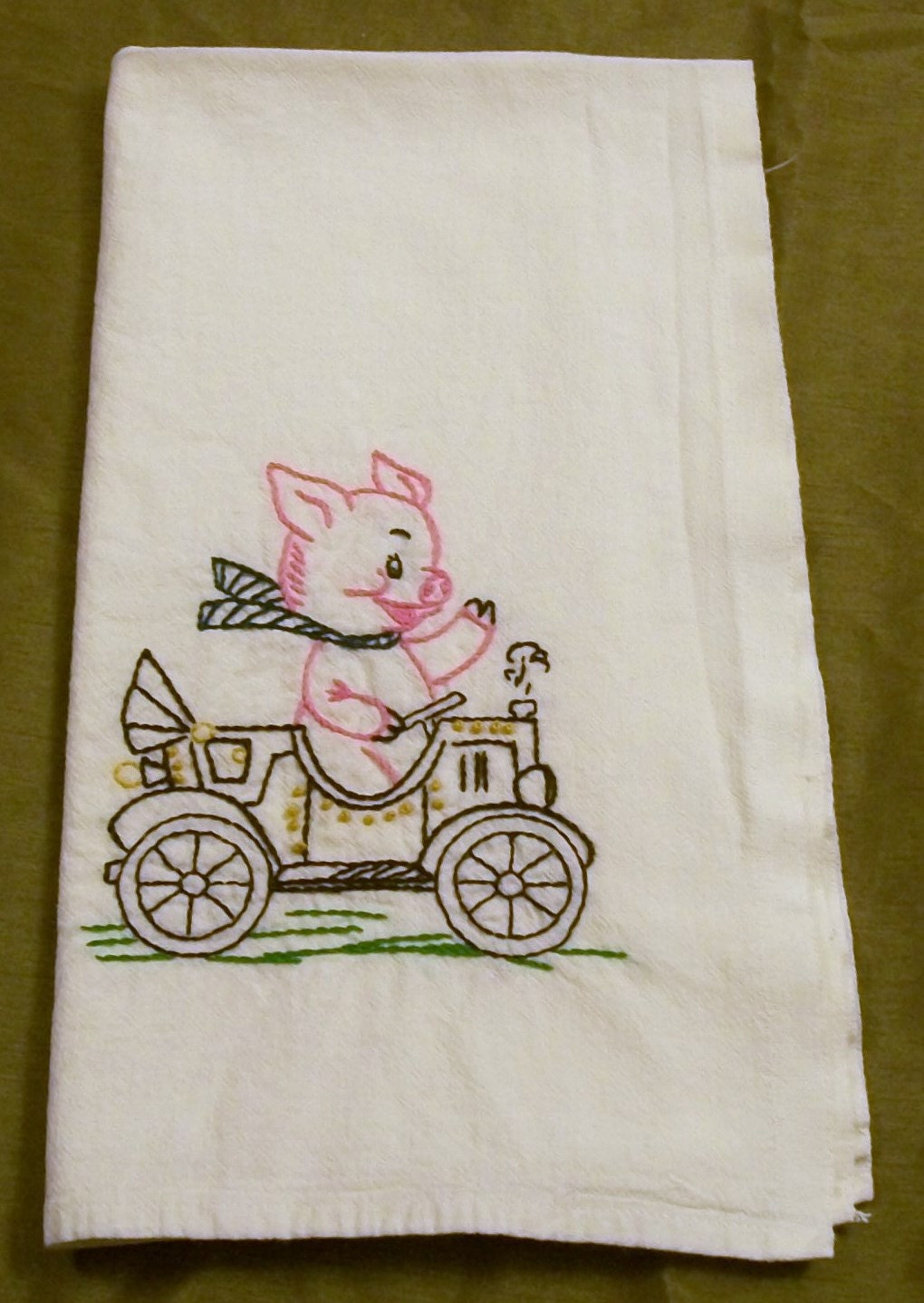 Dish Towel With Embroidery Hand Embroidery Pink Pig Dish