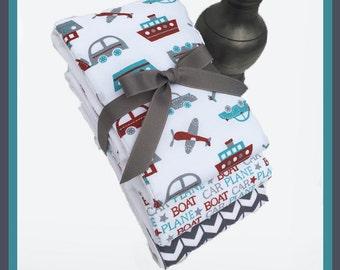 EXTRA LARGE Burp Cloths, Airplane Boy Burp Cloth, Gift Set, Cars, Boats, Ships in Grey Blue Designer 3 Pack, Newborn Baby Boy Shower Gift