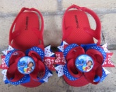 Lilo & Stitch INSPIRED Toddler and Girls Ribbon Bow Boutique Flip Flops for birthday party or Disney Vacation