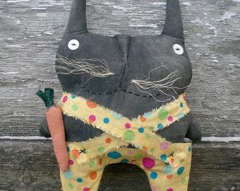 Roscoe Rabbit, A Spring And Easter Primitive Folk Art Shelf Sitter Doll