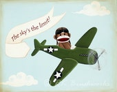 Childrens Art Print - Vintage Airplane Sock Monkey 8x10 print - nursery wall decor green