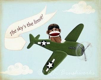 Childrens Art Print - Vintage Airplane Sock Monkey 8x10 print - nursery wall decor green