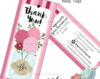 """Custom Hang Tags - 3.5 X 1.5"""" - Mason Jar Flowers - Double Sided with holes - free shipping"""