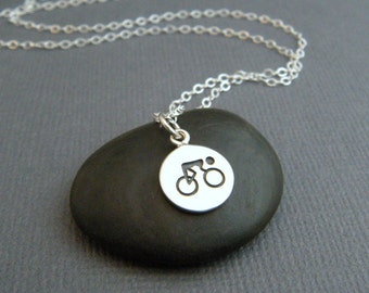 silver cyclist symbol necklace. sterling road cycle pendant. bike bicycle triathlon triathalon charm gift athlete girls women sports jewelry