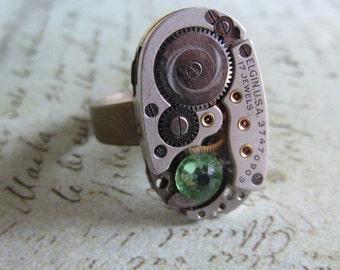 Steampunk Ring - Vintage Watch Movement Adjustable Filigree Ring - Steampunk Jewelry by Steampunkjunq