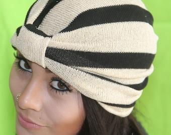 Turban-Headband-Great-Gatsby-1920sBrown-LightBrown-Stripe-Tribal-Full-Head-Turban-Chemo-Hat-Urban Turban - Full-Head-Warm-Headband