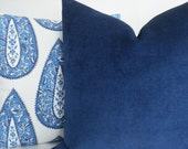 Saphire Blue Cotton Velveteen / Chenile -BOTH SIDES- Throws and Lumbars- -Decorative Designer Pillow Cover--Indigo----