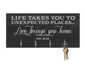 Wall Key Holder Display Accessories Decor Gift for Office, Desk, Home, Shelf Trendy - Mr. and Mrs.- Unexpected Places Welcome - artstudio54