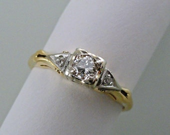 A Delicate Vintage 1940's style Engagement Ring, Yellow and White Gold with Round Brilliant Cut Diamonds (A1575)