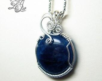 Round Apatite Silver Pendant