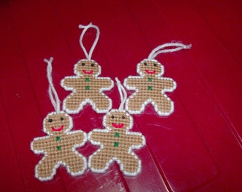 Gingerbread Christmas Ornaments-Gingerbread Gift Tags-Needlepoint Gingerbread Ornaments