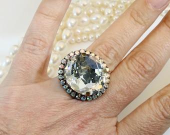 Clear Crystal Ring  AB bridal Ring Swarovski Crystal Clear Ring Oversize Clear ring Adjustable Ring Halo Statement Ring Nautilus,Brass,BR49