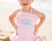 Swimsuit ~ Monogrammed swimsuit ~ Girls Bathing Suit ~ Monogrammed Swim suit ~ Girls Swimsuit ~ Toddler Swimsuit ~ Seersucker Swimsuit