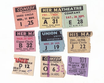 Pack of 9 Vintage Australian Theatre Ticket Stubs 1950's / 60's  Ephemera