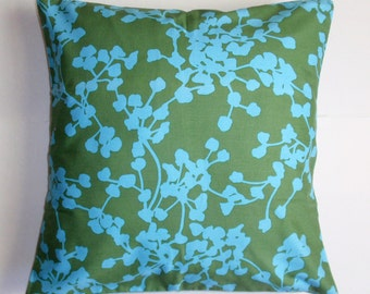 Throw Pillow Cover, Handmade Decorative Seagreen Cushion Cover, Blue & Green Graphic Floral Throw Pillow Cover, Amy Butler Fabric, 16x16""