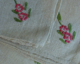 Vintage French Linen Embroidered Napkins Lot