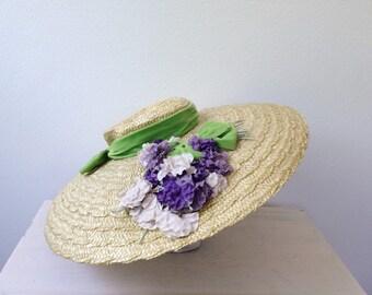 vintage hat / vintage sun hat / Hydrangea Hat