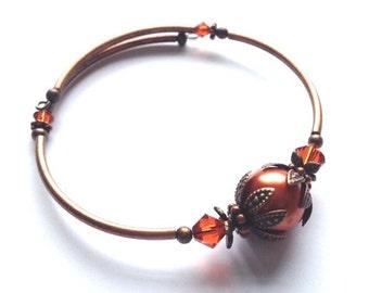 Pearl Bracelet, Antique Copper, Bangle, Swarvoski, Bridal, Burnt Orange Pearl, Memory Wire, Art Nouveau, Bridesmaid Gift, My Julie Jewels