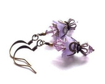 Lucite Flower Earrings, Crystal Swarvoski Earrings, Violet, Purple Earring, Victorian, Art Nouveau, Brass Vintage Earrings, My Julie Jewels