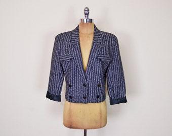 Vintage 80s Salt & Pepper Black White Grey Tweed Blazer Jacket Crop Blazer Boyfriend Blazer Oversize Blazer Tuxedo Blazer S Small M Medium