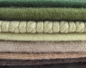 Soft and  Fluffy Upcycled Cashmere Sweater Pieces, Earth Tones, Felting, Sewing, Small Projects, Wool Applique, Embellish