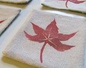 Red Maple Leaf coasters-SET OF 4