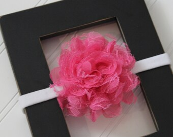 Dark Pink Chiffon Lace Headband- Newborn Baby Child- Photo Prop - Boutique Bow Headband