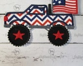 July 4th Monster Truck with USA Flag - Iron On or Sew On Embroidered Applique