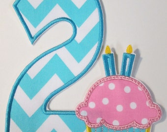 Birthday Iron On Applique - Birthday Number with Cupcake and Candles