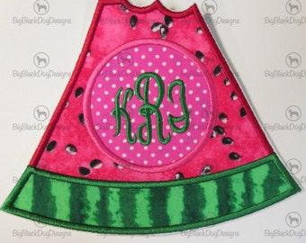 Iron On Applique -Watermelon Monogram Slice