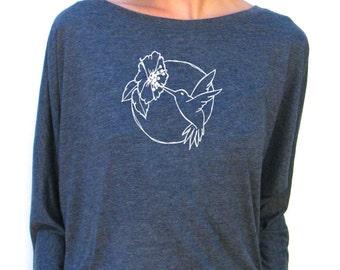 Hummingbird Design - Womens Long Sleeve Shirt - Bella Flowy Jersey Dolman Top - Small, Medium, Large, XL, 2XL